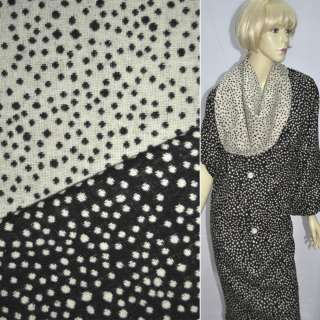 Тканина костюмна 2-ст. чорно-біла в горох ш.150