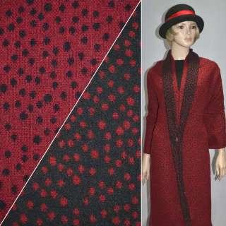 Тканина костюмна 2-ст. чорно-червона в горох ш.150