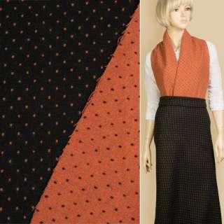 Жаккард костюмний 2-ст. чорно-помаранчевий крапки ш.150