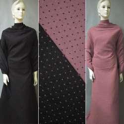Жаккард костюмный 2-ст. черно-розовый крапки ш.150