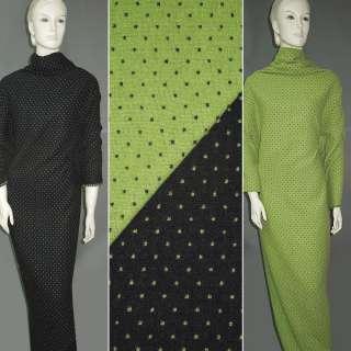 Жаккард костюмний 2-ст. зелено-чорний крапки ш.150
