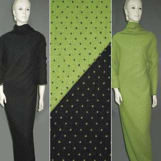 Жаккард костюмный 2-ст. зелено-черный крапки ш.150