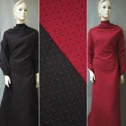 Жаккард костюмный 2-ст. черно-красный крапки ш.150