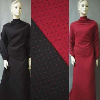 Жаккард костюмний 2-ст. чорно-червоний крапки ш.150