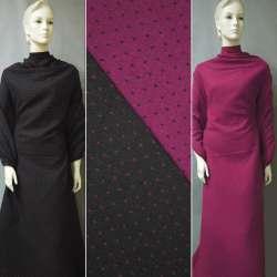 Жаккард костюмный 2-ст. черно-малиновый крапки ш.150