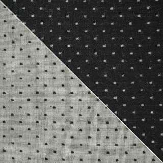 Жаккард костюмний 2-ст. чорно-білий крапки ш.154