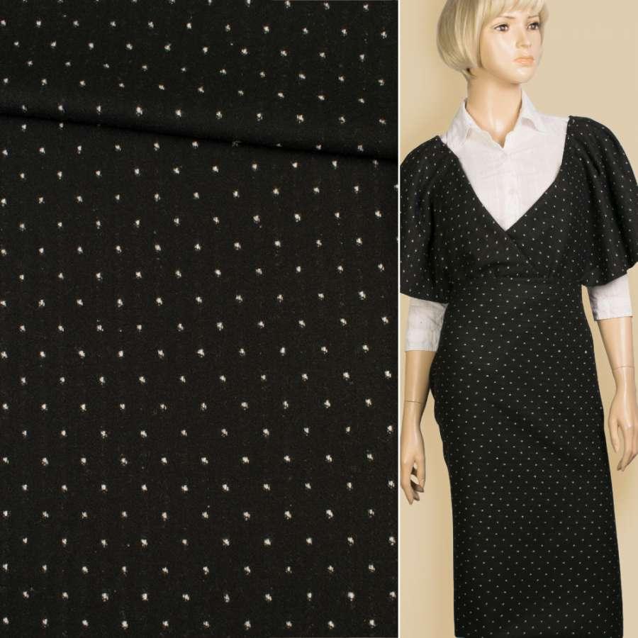 Жаккард костюмный 2-ст. черный в белую крапку/полоску, ш.147