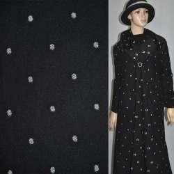 Жаккард костюмный черный в белый горох ш.150
