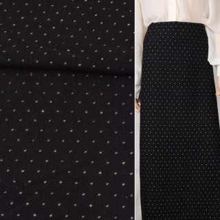 Жаккард костюмный черный в белую точку ш.148