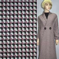 Жаккард костюмный розовый в черные и белые лапки эксклюзив ш.140