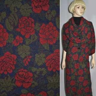 Жаккард шерст. темно-синий с красн. цветами ш.150