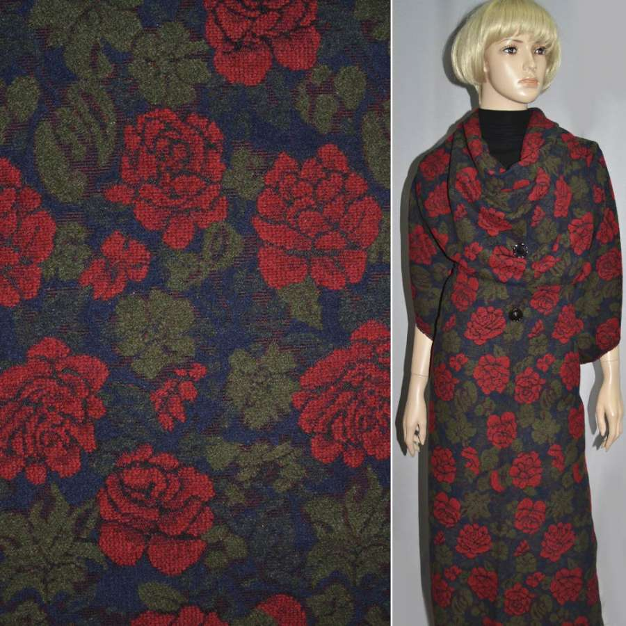 Жаккард шерстяной синий темный с красными цветами ш.150