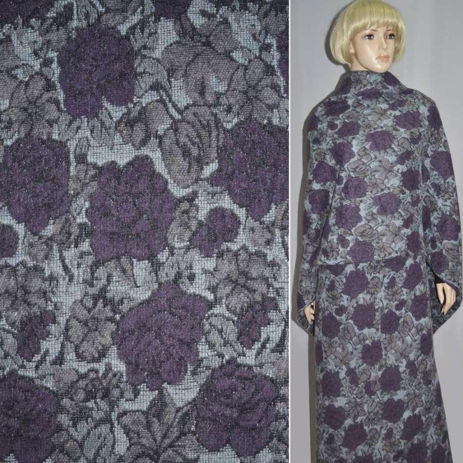 Жаккард шерст. бледно-голубой с фиолетово-серыми цветами ш.150