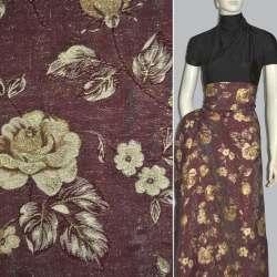 Фукра бордовая с золотыми розами ш.150