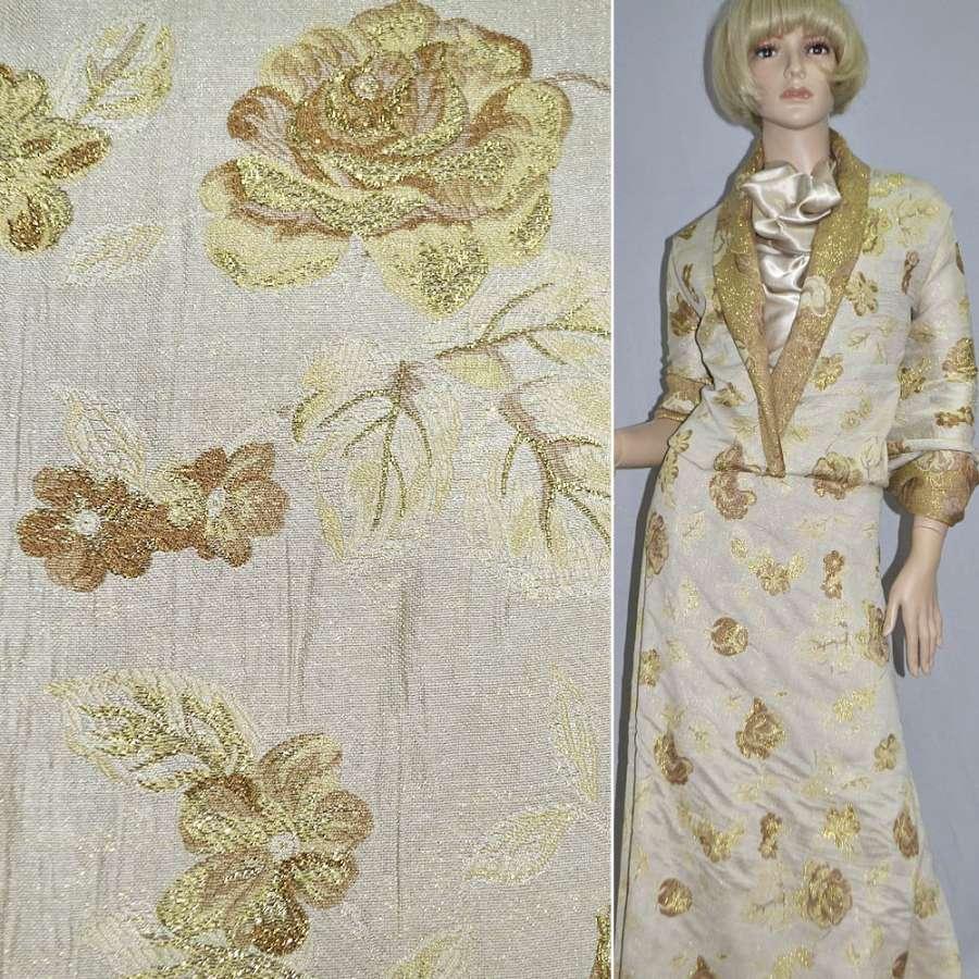 Фукра біла з золотими квітами ш.150