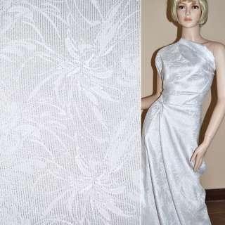 ткань костюмная белая с серебристым люрексом, ш.150
