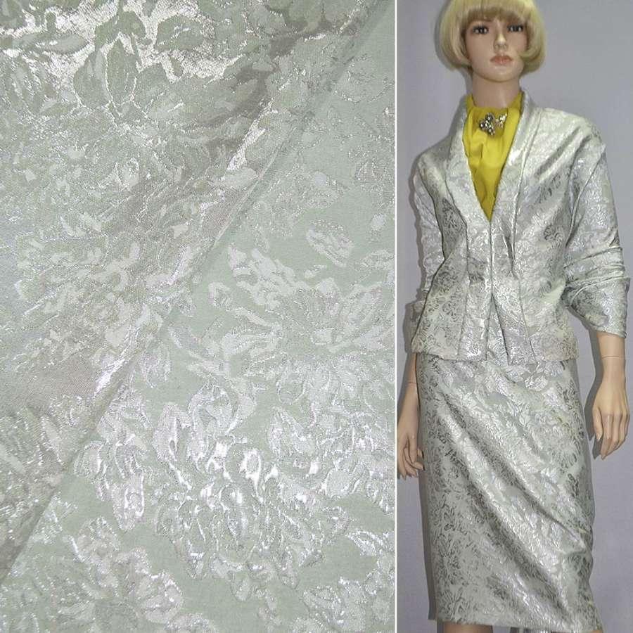 Фукра костюмная салатовая с серебристыми цветами