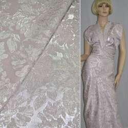 Фукра костюмная розовая с серебристыми цветами