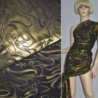 фукра черная с золот.абстр.рис.шир.150 см