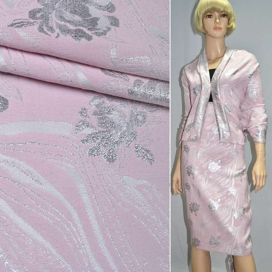 фукра розовая с серебр.розами шир.150 см
