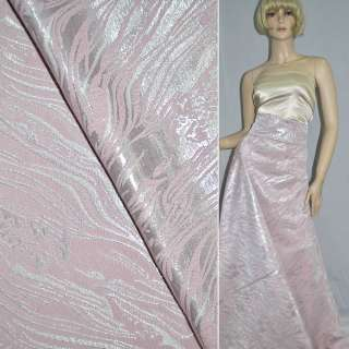 Фукра розовая с серебристым люрексом ш.150