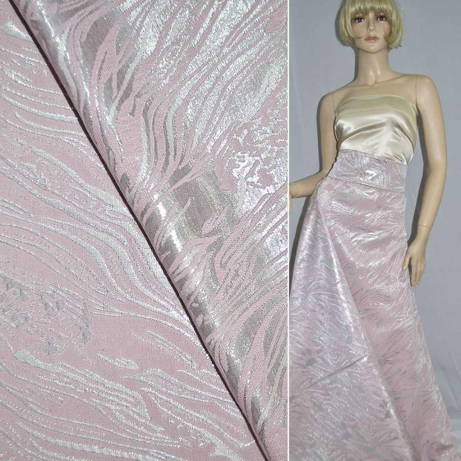 фукра розовая с серебрист.люрексом шир.150 см