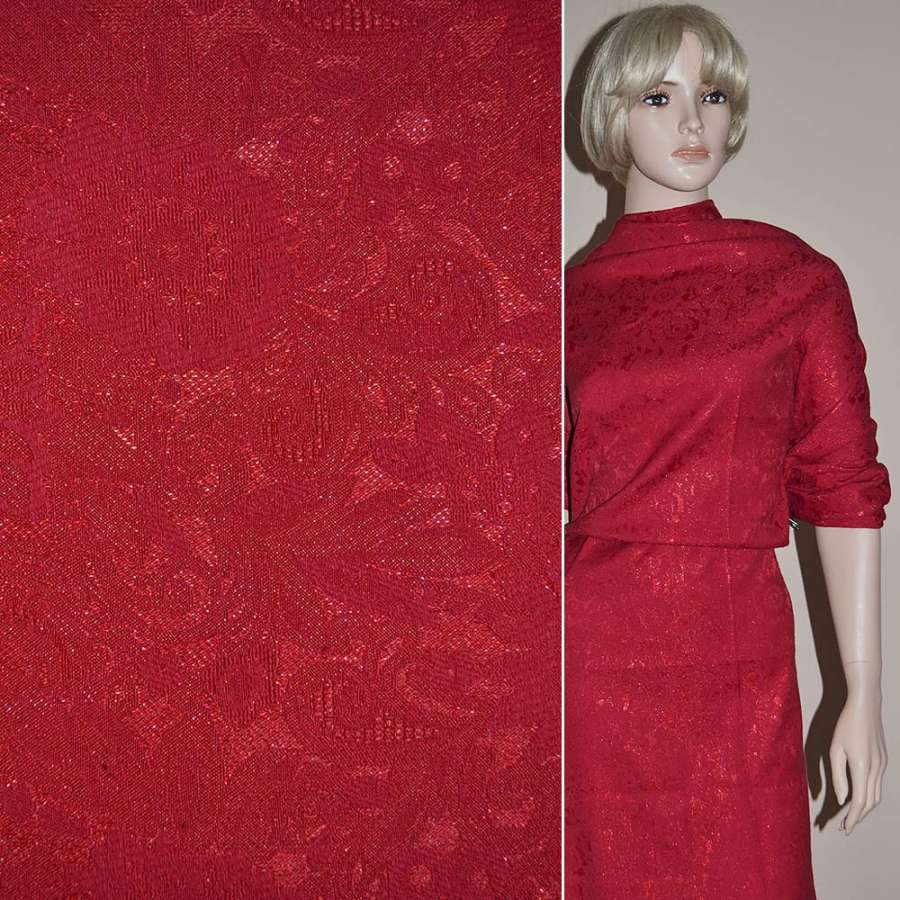 Жаккард костюмный красный с органзой и тисненым рисунком ш.150