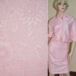 Жаккард костюмный бледно-розовый с органзой и тисненым рисунком ш.150