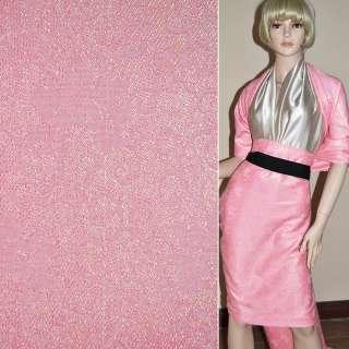 ткань кост. розовая с органзой и завитками, ш.150 см.