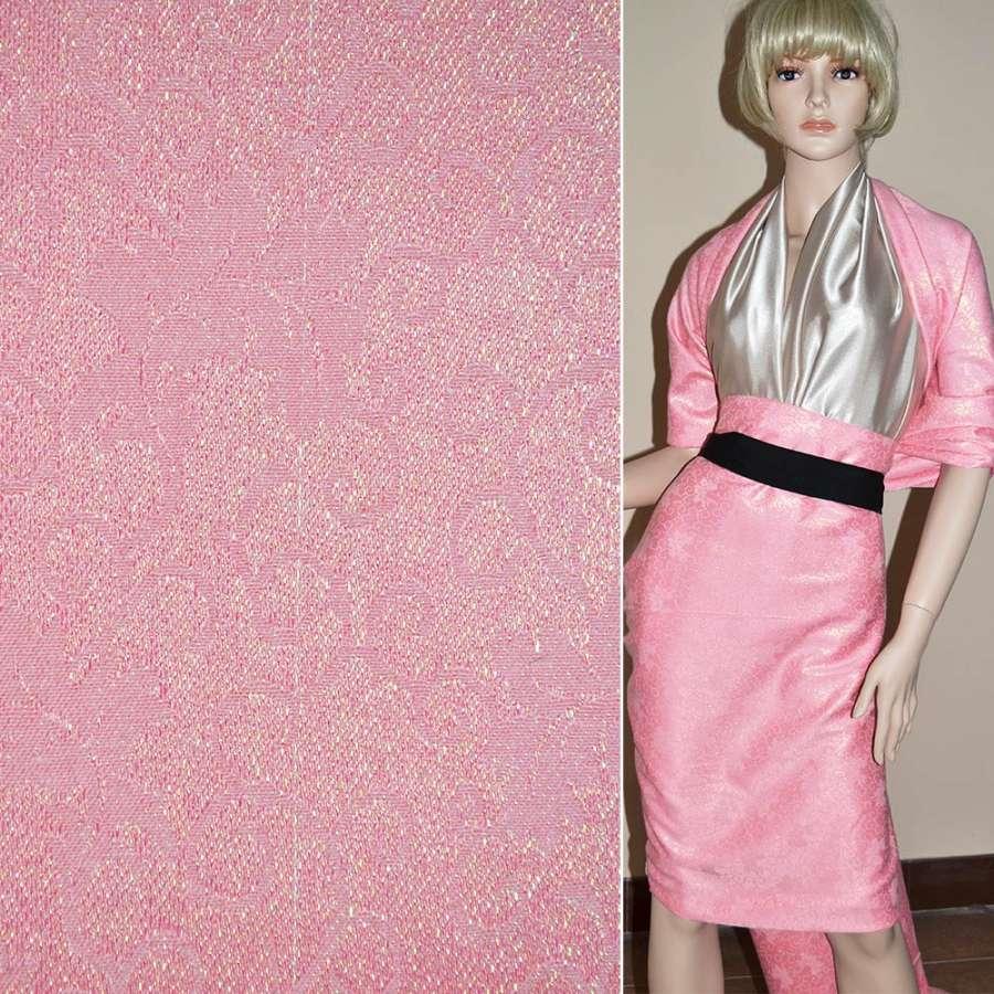 Жаккард костюмный розовый с органзой и завитками, ш.150