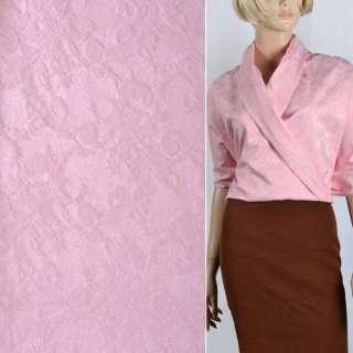 Жаккард костюмный с органзой розовый и тисненым рисунком ш.145