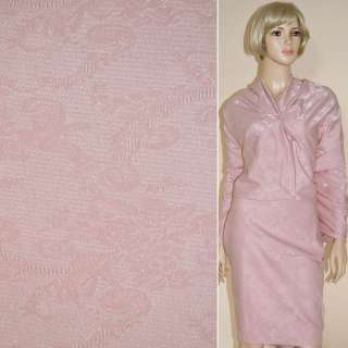ткань кост. розовая с органзой с тисн.абстрак.рисунком ш.144