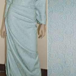 Жаккард костюмний блакитний з колами і переливаючимся люрексом, ш.150