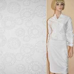 Жаккард костюмний білий з колами і переливаючимся люрексом, ш.150