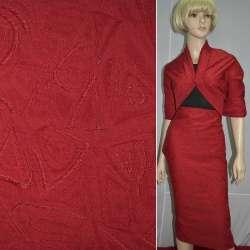 Жаккард костюмный красный с абстрактным рисунком, ш.150
