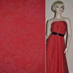 Жаккард костюмний червоний з органзой і тисненим малюнком, ш.150