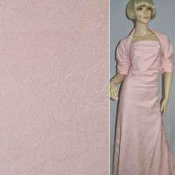 Жаккард костюмний рожевий з органзой і тисненим малюнком, ш.150