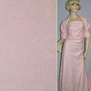 Жаккард костюмный розовый с органзой и тисненым рисунком, ш.150