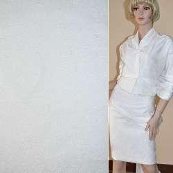 Жаккард костюмний білий з органзой і тисненим малюнком, ш.150