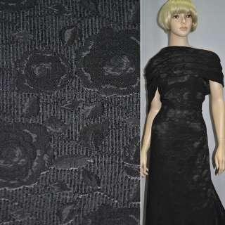 Фукра костюмна чорна з шенілловой ниткою ш.140