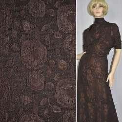 Фукра костюмная коричневая с шенилловой нитью