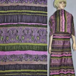 Жаккард костюмний фуксія з салатовим орнаментом і шенілловой ниткою ш.140