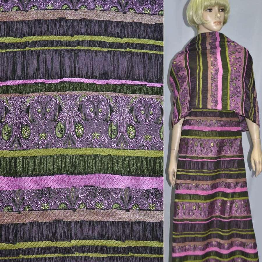 Жаккард костюмный фуксия с салатовым орнаментом и шенилловой нитью ш.140