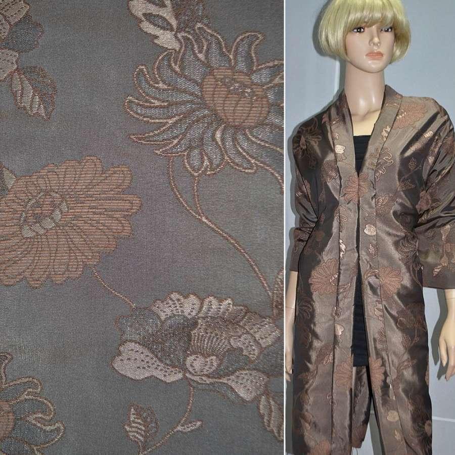 Фукра с шениллом висозным коричневая с светло-коричневым рисунком