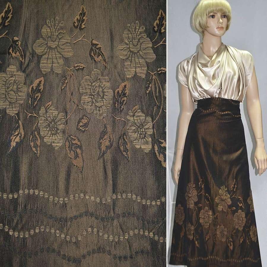 Фукра темно-коричневая в цветы, купон ш.150