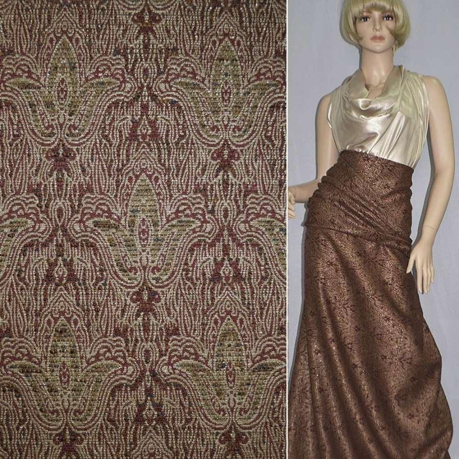 Фукра коричнево-бежевая с шенилловой нитью, люрексом, рисунком тюльпаны
