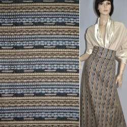 Ткань костюмная в серо-коричневую полоску с шенилловой нитью