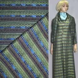 Ткань костюмная в серо-зеленую полоску с шенилловой нитью