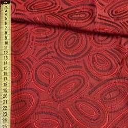 Фукра красная с абстрактным рисунком и люрексом