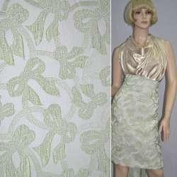 Фукра белая с салатовым рисунком бантики